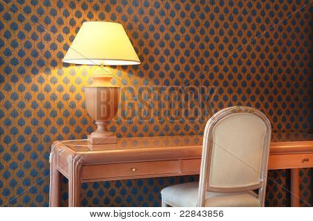 interior luxury apartment, detail room, table lamp and desk