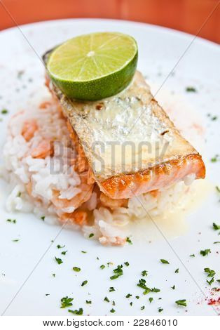 grilled salmon with sauce and emon