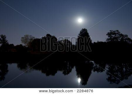 Moonrise Over Lake