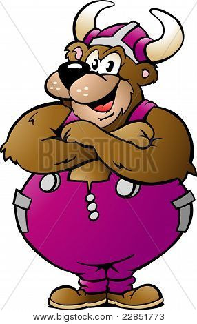 Hand-drawn Vector Illustration Of An Viking Bear In Purple Overalls