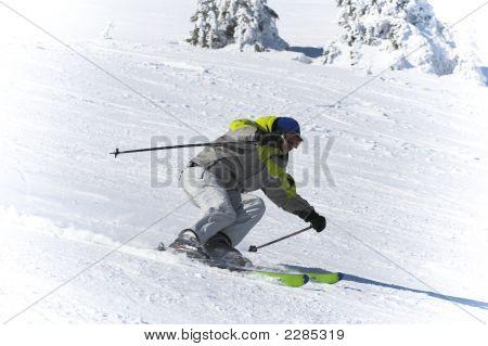 Winter Ski Sports. Skier Downhill