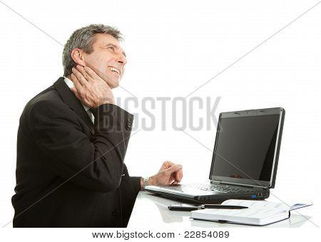 Senior business men having neck pain