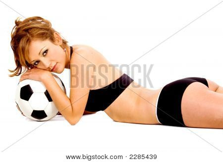 Fashion Woman Holding A Football