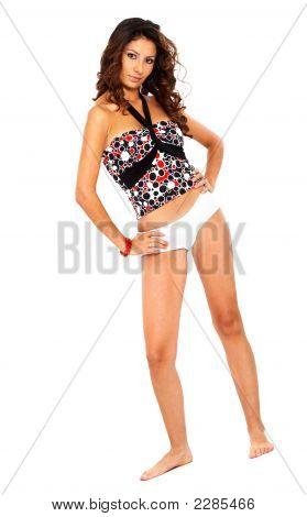 Fashion Girl In White Underwear