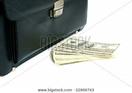 Black Briefcase And Money