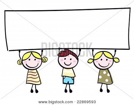 Cute Doodle Children Holding Blank Banner Sign Isolated On White.