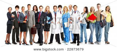Group of smiling business people.Isolated over white background.