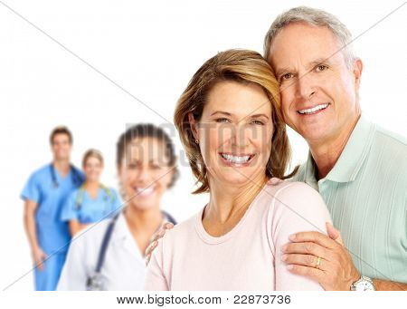 Senior smiling Couple verliebt. over white Background.