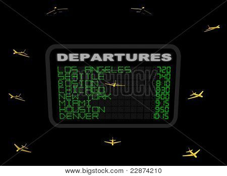American Airport Departure board with abstract planes illustration