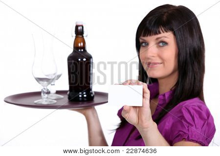 Female waitress, holding tray of beer and business card