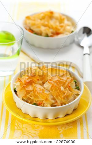 Creamy mustard chicken pot pie with vegetables  and filo