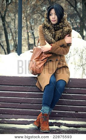 The fine Vietnamese girl sits in the winter on a bench in park