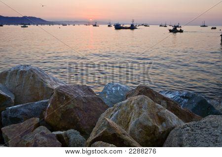 Avila Harbor Rocks At Sunrise