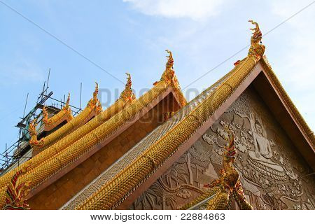 Repairing Thailand Temple And Blue Sky