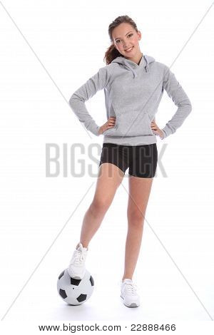Athletic Soccer Player Teenage Girl Foot On Ball