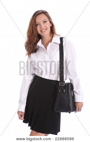 Beautiful Teenage Student Girl In School Uniform
