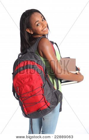 Cute African American High School Student Girl