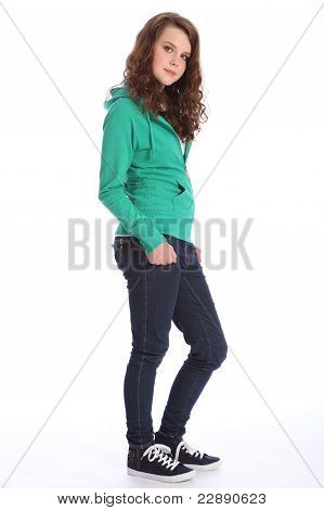 Cute Smile From Teenager School Girl In Hoodie Stock Photo & Stock