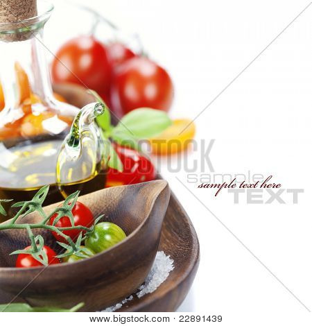 Fresh tomatoes and olive oil over white (with sample text)