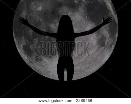 Girl Showing The Full Moon.