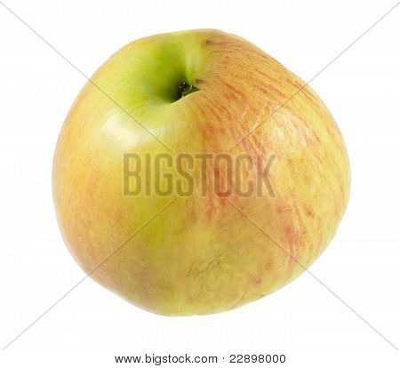 Half Wrinkled And Fresh Apple Isolated On White