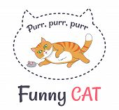 Funny Red Cat Makes Sound Purr-purr Playing With Little Grey Mouse Vector Illustration Dedicated To  poster