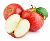 Ripe Red Apple Fruit With Apple Half Without Seeds And Apple Leaf Isolated On White Background. Red  poster
