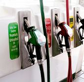 stock photo of fuel pump  - Petrol pumps in red and green and diesel - JPG