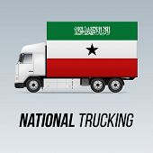 Symbol Of National Delivery Truck With Flag Of Somaliland. National Trucking Icon And Flag Colors poster