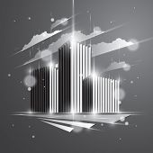 Futuristic Building, Modern Style Vector Architecture Illustration With Blurred Lights And Glares Ef poster