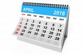 2018 Year Calendar. April Calendar On A White Background. 3d Rendering poster
