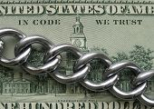 In Code We Trust. Blockchain Crypto Technology Principle. Real Metal Chain Is On Hundred Dollar Bank poster