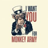 Monkey Uncle Sam With Pointing Finger At Viewer. I Want You For Army Lettering. Vintage Color Engrav poster