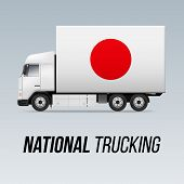 Symbol Of National Delivery Truck With Flag Of Japan. National Trucking Icon And Japanese Flag poster
