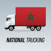 Symbol Of National Delivery Truck With Flag Of Morocco. National Trucking Icon And Moroccan Flag poster