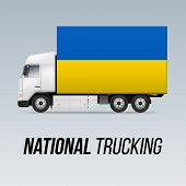 Symbol Of National Delivery Truck With Flag Of Ukraine. National Trucking Icon And Ukrainian Flag poster