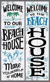 Welcome To Our Beach House, Make Yourself At Home. Hand-drawn Typography Vertical Sign Set For Home  poster
