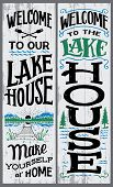 Welcome To Our Lake House, Make Yourself At Home. Hand-drawn Typography Vertical Sign Set For Home D poster
