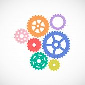 Gears Set. Cogwheel Icon. Background With Connected Gears. Vector poster