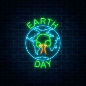 Glowing Neon Sign Of World Earth Day With Tree In Globe Symbol And Greeting Text On Dark Brick Wall  poster