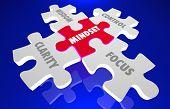 Mindset Clarity Control Focus Wisdom Knowledge Puzzle 3d Illustration poster