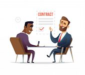 Businessman Partnership Beginning. Partners Signing Contract Agreement Closing Deal. Business Deal C poster
