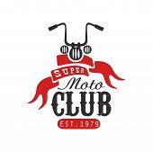 Super Moto Club Logo, Est 1979, Design Element For Motor Or Biker Club, Motorcycle Repair Shop, Prin poster