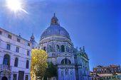Sun Sunflare Santa Maria Della Salute Church Basilica Dome Venice Italy. Competed In 1681 Dedicated  poster