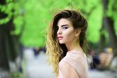 Spring, Youth, Freshness. Sensual Woman In Spring Park. Girl With Makeup, Long Hair, Beauty. Hair Ca poster