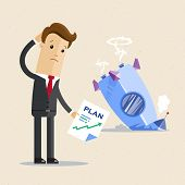 Businessman With Plan And Rocket Crashed. Business Failure, The Rocket Fall Down. Vector Flat Illust poster