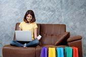 Woman Shopping Online. Holding Blank Credit Card. poster