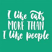 I Like Cats More Than I Like People - Hand Drawn Lettering Phrase For Animal Lovers On The Green Bac poster