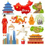 China Vector Chinese Culture In Asia And Great Wall Of China Illustration Set Of Asian Symbols Panda poster
