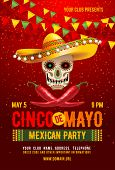 Cinco De Mayo Poster Or Flyer Design Template With Cheerful Decorated Skull In Sombrero And Red Pepp poster